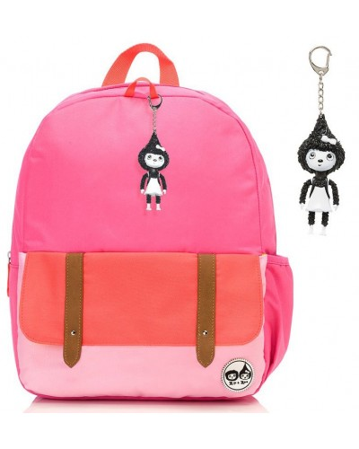 escolares - Mochila Zip & Zoe Junior Hot Pink Colour Block - 0
